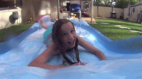 backyard surf action cam intex surf n slide backyard fun youtube gogo papa