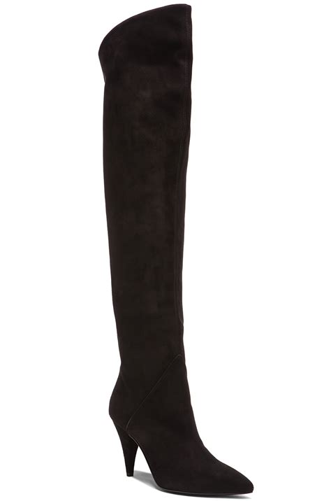 laurent thigh high cat suede boots in black fwrd