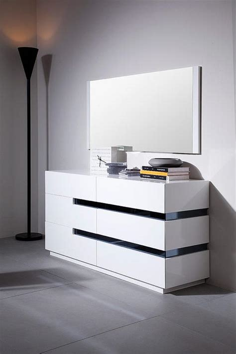 contemporary white glossy dresser black stripes shop modern italian luxury furniture prime classic design