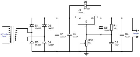 design brief for an electric circuit circuit variable power supply using lm voltage regulator