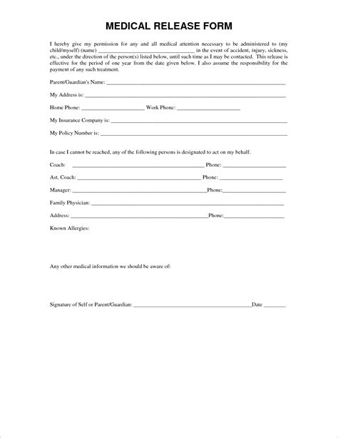 7 medical release form template memo formats