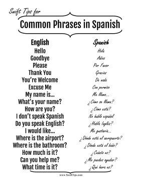 common english to spanish phrases