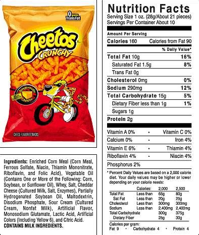 hot chips nutritional information 10 best photos of cheetos food label cheetos ingredients