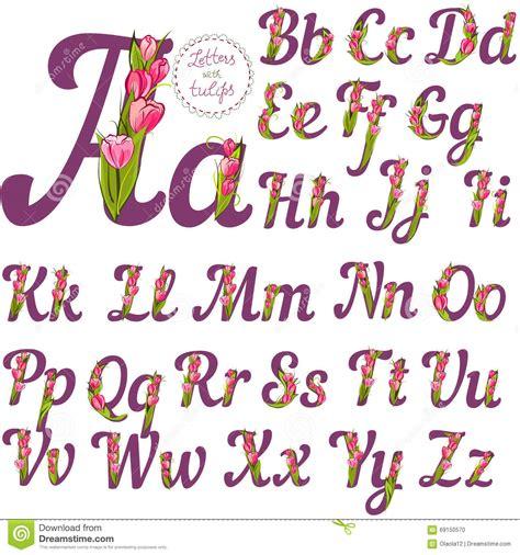 lettere dell alfabeto particolari insieme delle lettere floreali illustrazione vettoriale