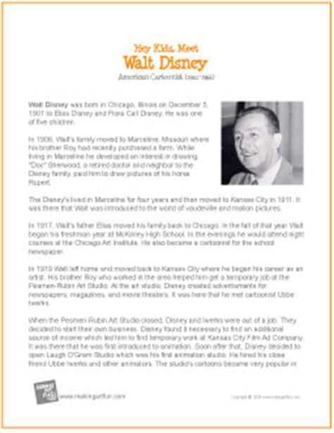 walt disney | printable biography for kids | walt disney