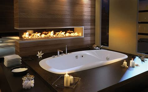 Luxurious Bathtub by Luxury Master Bathroom Idea By Pearl Drop In Bathtub And Built In Fireplace