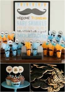 boy baby shower ideas mustache theme spaceships and