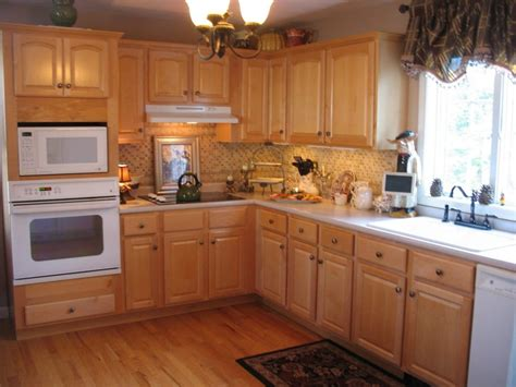 oak kitchen furniture maple cabinets white appliances light granite countertops