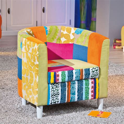 Patchwork Furniture For Sale - benton tub chair in multicolour patchwork with wooden legs
