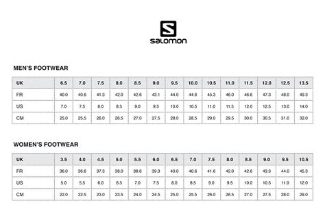Shoe Size Chart Salomon | size charts mountain designs