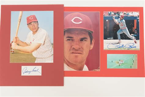 johnny bench pete rose lot detail johnny bench pete rose signed photo cut displays