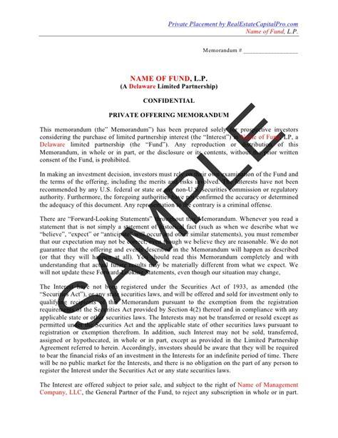 Credit Note Format For Real Estate placement memorandum for real estate fundnd