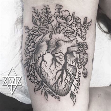 flower heart tattoos stipple anatomical with flowers by momma