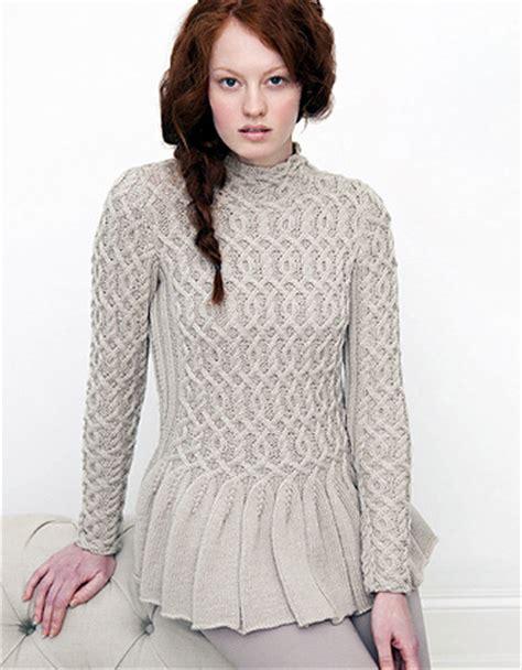 Cabled Peplum Sweater Knitting Knitting Free
