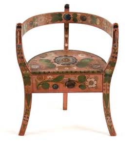 Neoclassical Homes antique norwegian corner chair with rosemaling rose painting