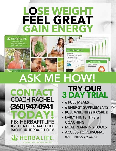 weight loss challenge flyer template customized herbalife 3 day trial white green by