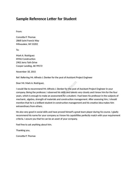 Reference Letter Template For Student sle reference letter for student is written to refer a