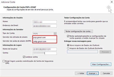 porta pop gmail como configurar email conta pop3 no outlook dicas e