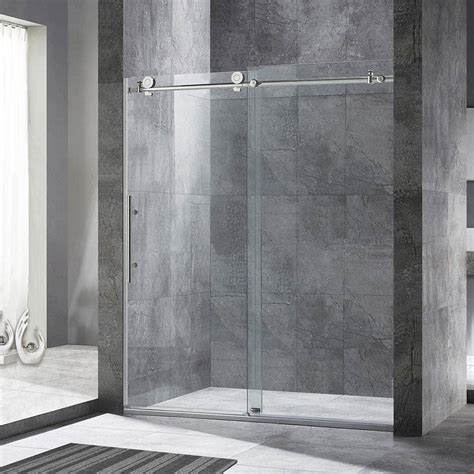 sliding shower doors woodbridge frameless sliding shower door 56 quot 60 quot width 76 quot height chrome 680147249892 ebay