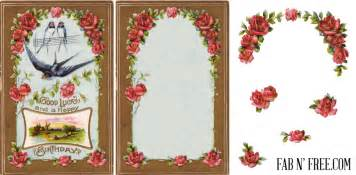 free vintage postcard frame and rose clip art fab n free