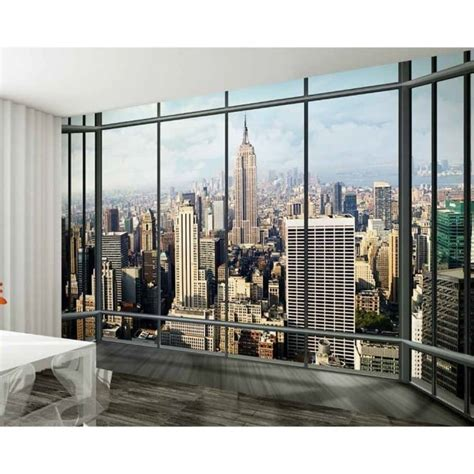 1 wall mural 1 wall new york window skyline wallpaper mural 3 15 x 2 32m