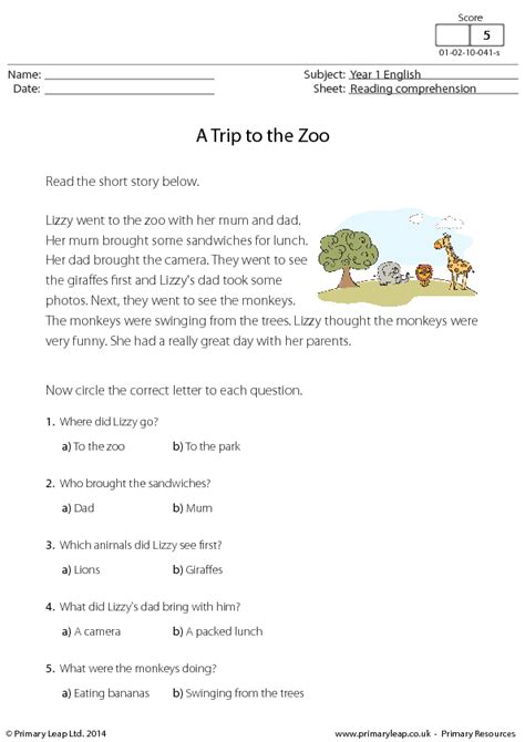 Reading Comprehension   A Trip to the Zoo