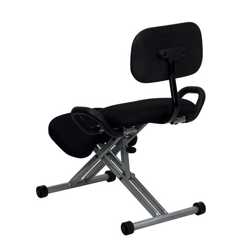 Ergonomic Kneeling Chair by Ergonomic Kneeling Chair In Black Fabric With Back And