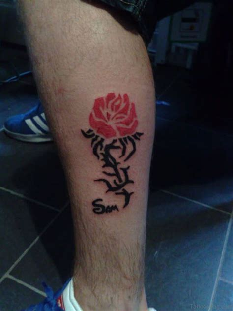 rose tattoo on leg 50 flowers tattoos on leg