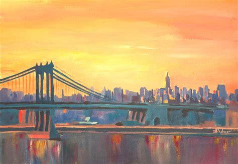 blue manhattan skyline with bridge and vanilla sky by m bleichner