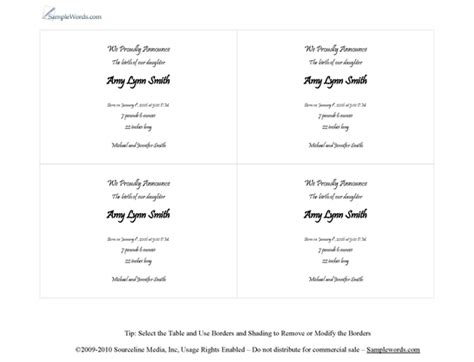 Wedding Registry Announcement Cards Template by Birth Announcement Template