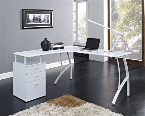 White Computer Desk by Foxhunter L Shaped Corner Computer Desk Pc Table Home