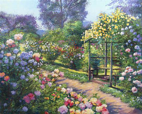 painting garden an evening garden painting by david lloyd