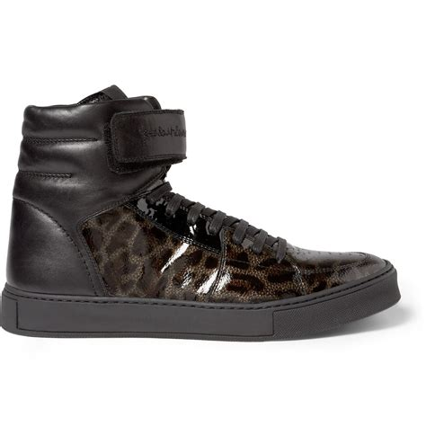 laurent sneakers laurent leopardprint patent leather high top