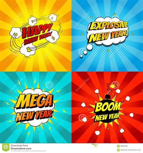 Cmic Hawwa Denim Black set of pop comic happy new year vector illustration stock vector image 59858788