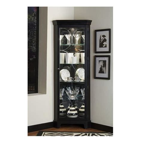 black corner curio cabinet lighted china display