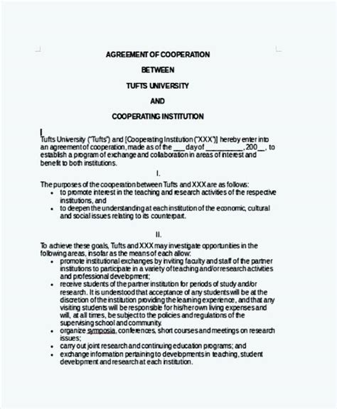 cooperation agreement template basic cooperation agreement template sle templates