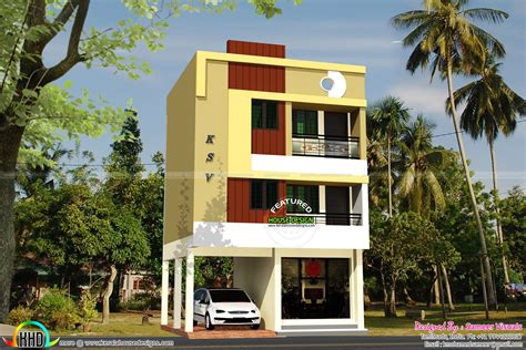 3 floor house april 2016 kerala home design and floor plans