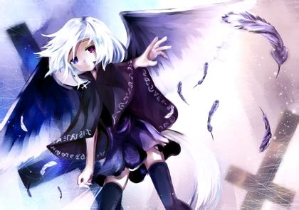 Dress Baby Tile Two Flower Pink wings blue skirts feathers heterochromia thigh highs