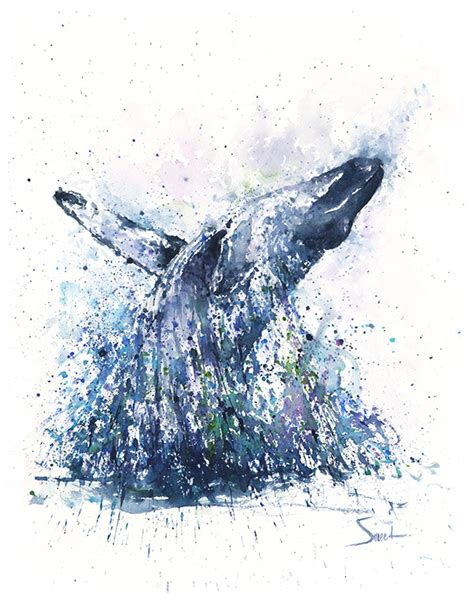 Animal Whale Signed Numbered - humpback whale watercolor print abstract animal paintings
