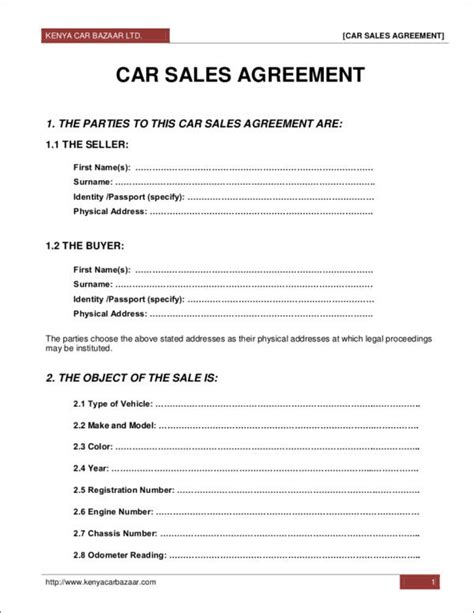car selling contract template 9 sales contract sles templates free pdf word
