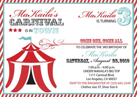 Carnival Themed Invitations Templates Free by Carnival Invitation Templates