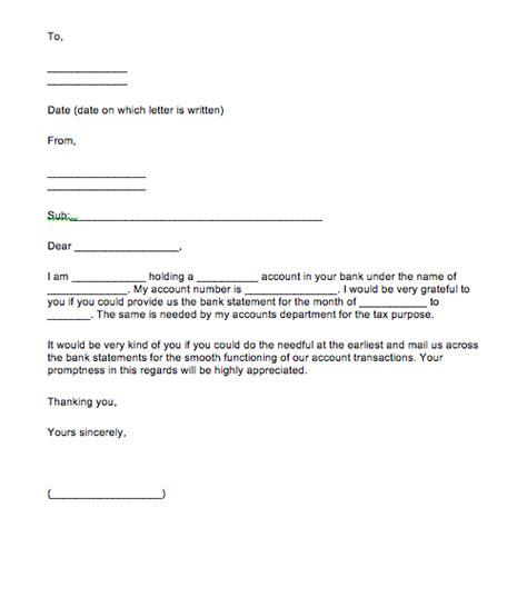 Bank Statement Application Letter Format