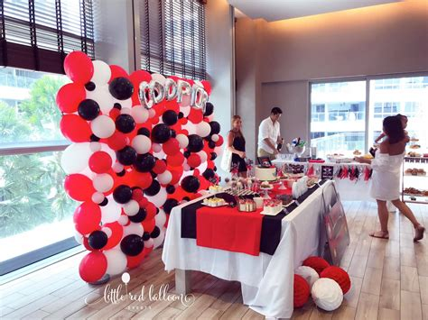 mini cooper themed party backdrop  red balloon