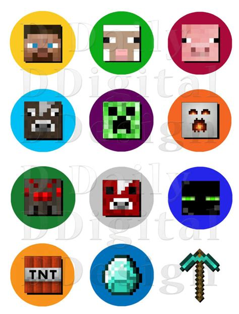 printable minecraft stickers minecraft stickers printable cake cupcake toppers party