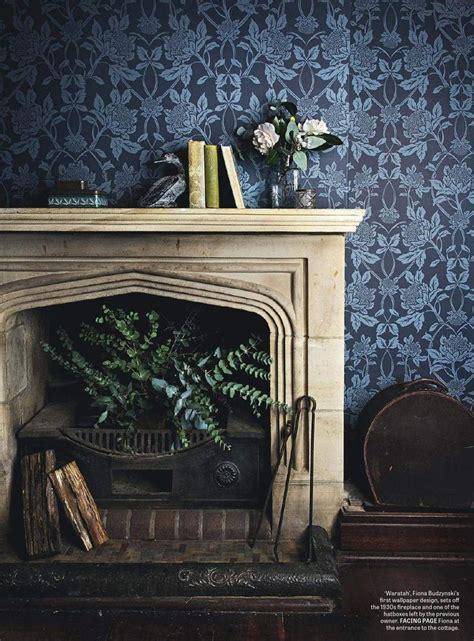fireplace  blue waratah wallpaper interiors