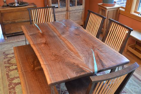 walnut dining room table bookmatched black walnut dining room table with turquoise