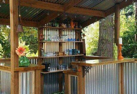 diy   build  shed corrugated tin outdoor bars