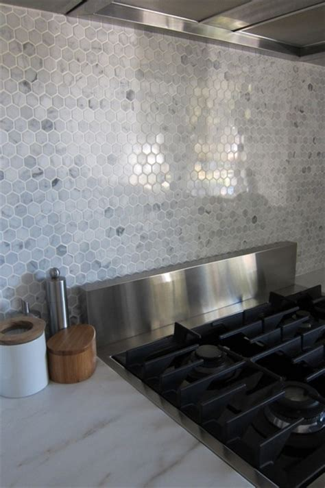 marble backsplash kitchen hexagon marble backsplash modern kitchen houston