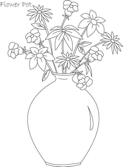 Flower Pot Coloring Printable Page For Kids 4 Simple Flower Pot Draw Color It