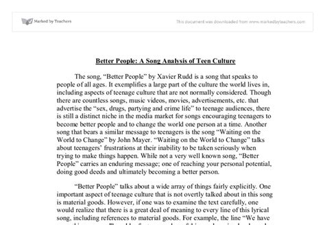 Song Analysis Essay by Better A Song Analysis Of Culture Gcse Marked By Teachers